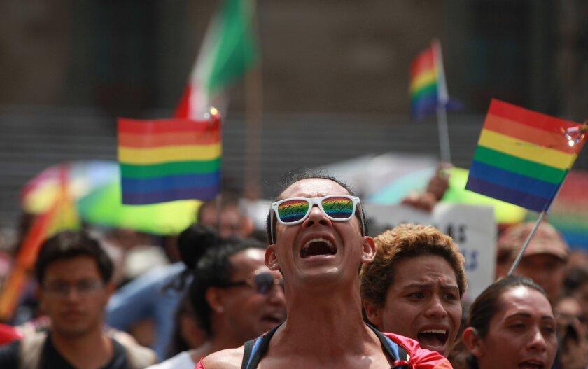 Cientos de personas se manifiestan hoy, domingo 11 de septiembre del 2016, en la Ciudad de México (México) para defender el Estado laico y como respuesta a las marchas desarrolladas el sábado en el país en contra del matrimonio homosexual. EFE/Mario Guzmán