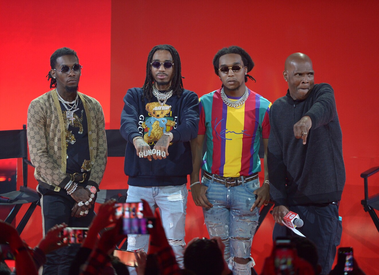 Quavo, Takeoff, de Migos y Big Boy en el escenario de iHeartRadio album release party.