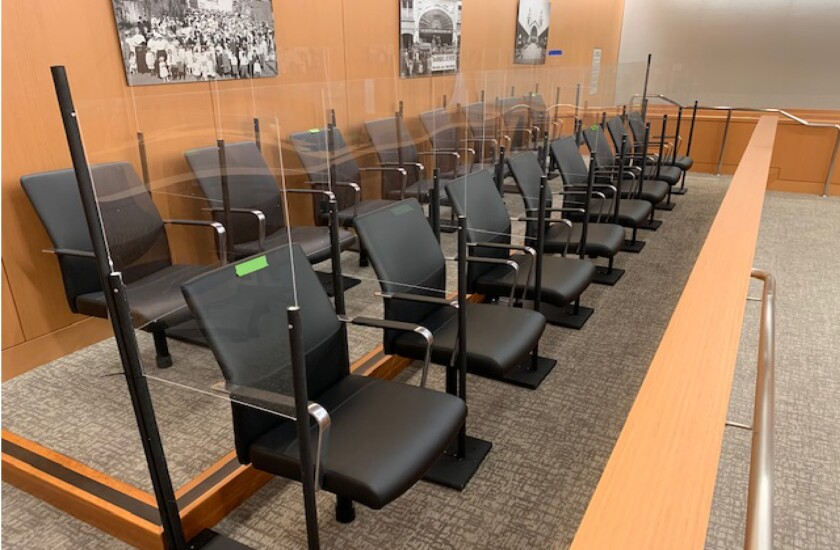 A remodeled jury box for the cornoavirus pandemic in San Diego Superior court