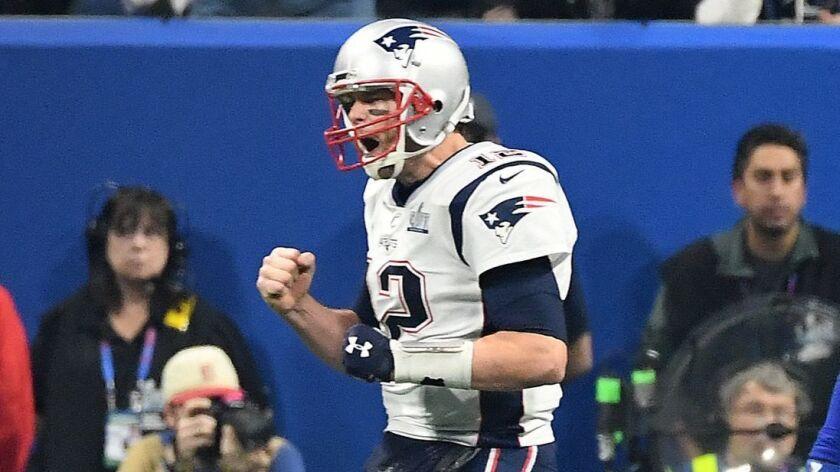 ATLANTA, GEORGIA FEBRUARY 3,2019-PAtriots quarterback Tom Brady celebrates a touchdown by Sony Miche