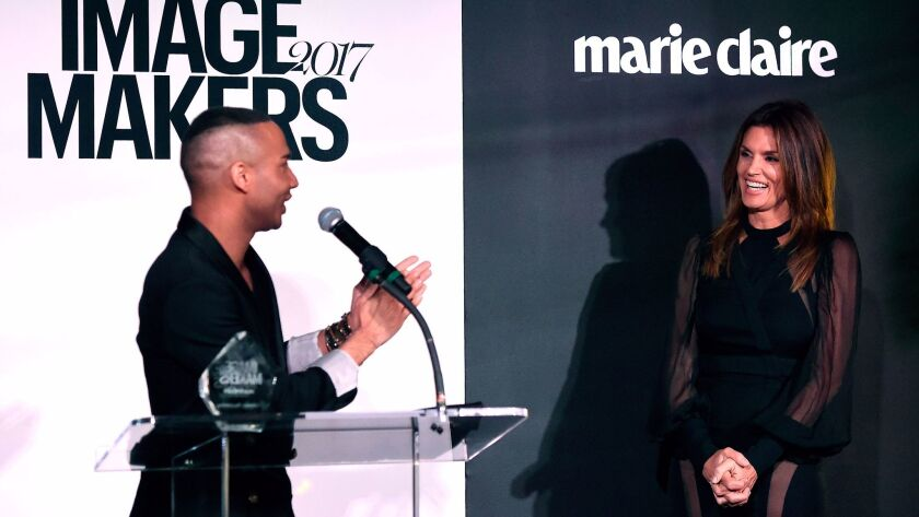 Icon Award recipient Olivier Rousteing and presenter Cindy Crawford at the second annual Marie Claire Image Maker Awards at Catch LA in West Hollywood on Jan. 10.