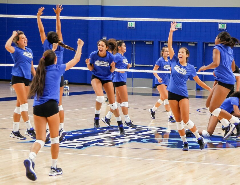 The Cal State San Marcos women's volleyball team holds a practice match at The Sports Center on Thursday, a week before its first competition there.