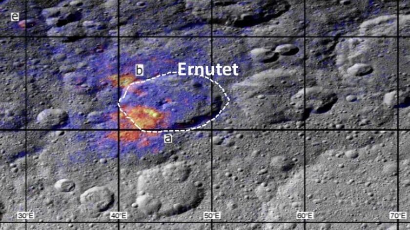 A region around the Ernutet crater on Ceres is rich in organic compounds. The color coding shows the strength of the organics absorption band, with warmer colors indicating the highest concentrations.