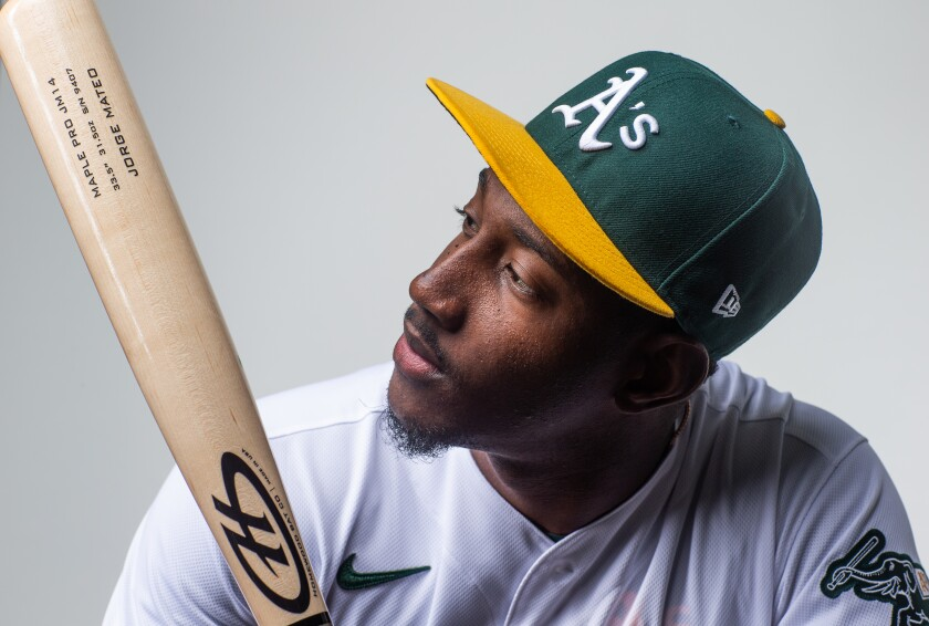 Jorge Mateo, posing for Oakland picture day, has tested positive for COVID-19 during intake testing with the Padres.
