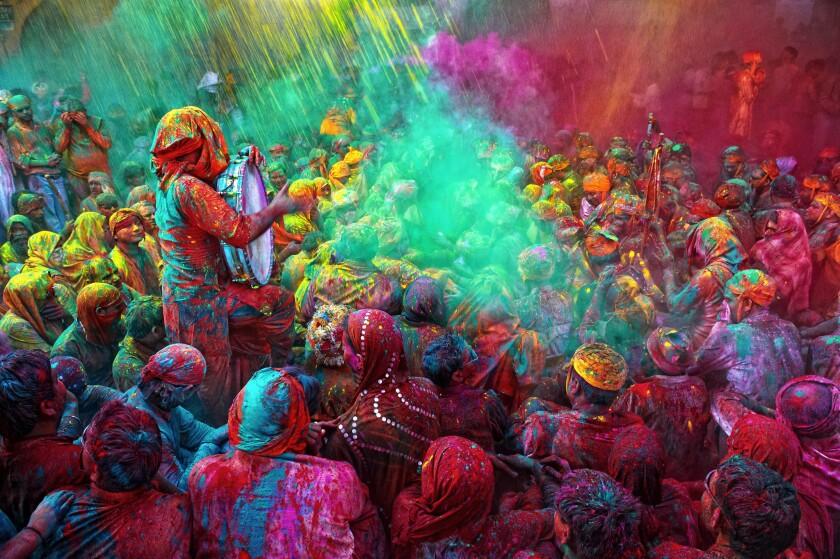Holi Festival celebrations in Mathura, India.