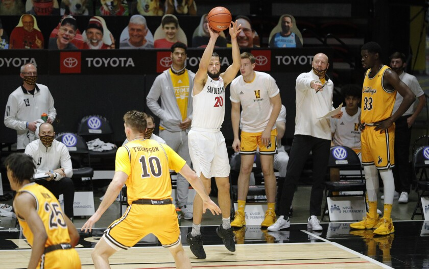 Jordan Schakel is unguarded as he attempts three-pointer during Aztecs' record-breaking first half at Viejas Arena.