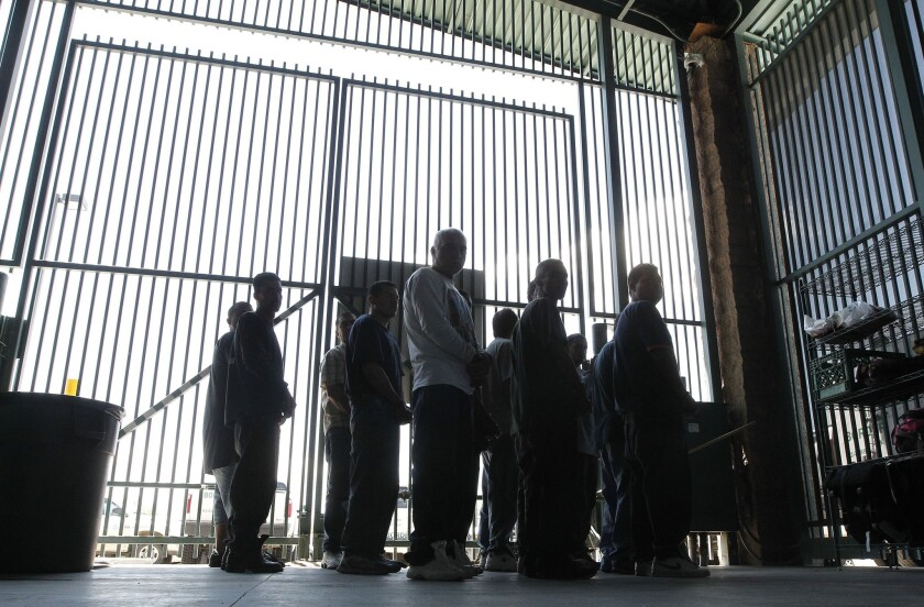 Detainees at the Tucson Sector of the U.S. Customs and Border Protection headquarters in Tucson in 2012.