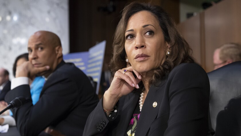 Democratic Sens. Kamala Harris and Cory Booker.