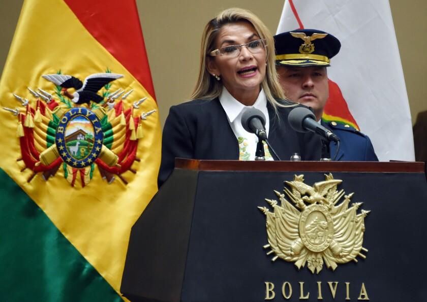 Bolivia's interim president Jeanine Anez