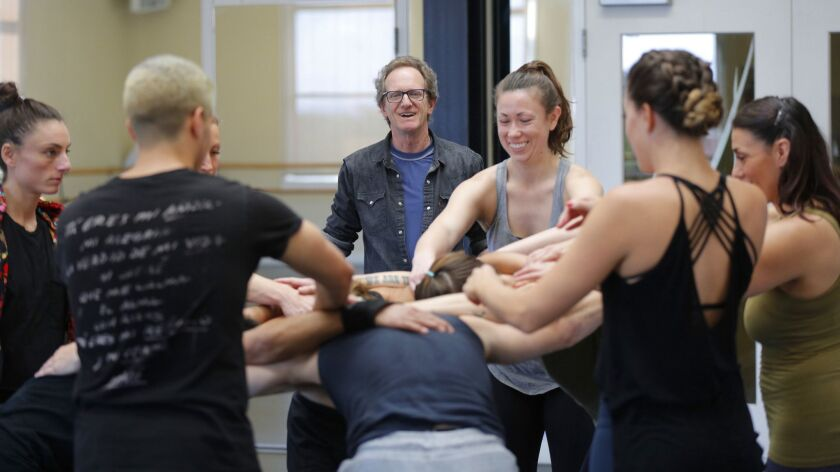 """Dancer and choreographer John Malashock's dance company will celebrate it's 30th anniversary with """"The Ride: Malashock@30"""" at the Lyceum Theatre. Here, Malashock is shown here during a rehearsal with dancers."""