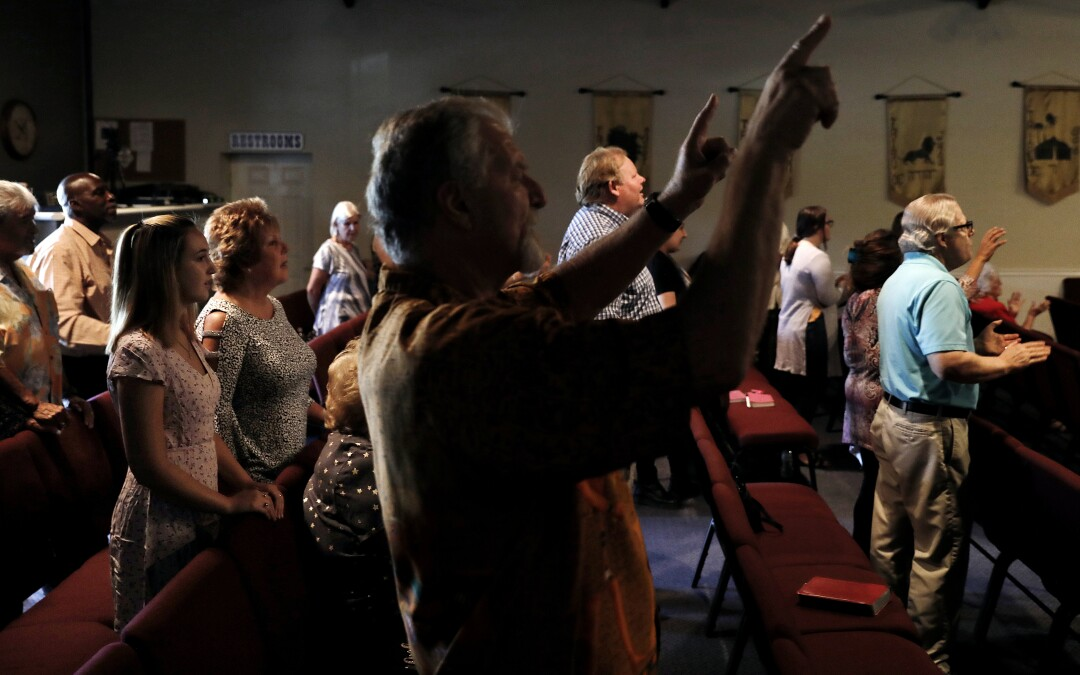 Worshipers gather for a service at Bundy Canyon Christian Church.