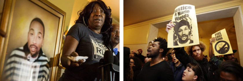 At left, Tritobia Ford speaks next to a framed photo of her slain son, Ezell Ford. At right, people protest the shooting death of Mario Woods.