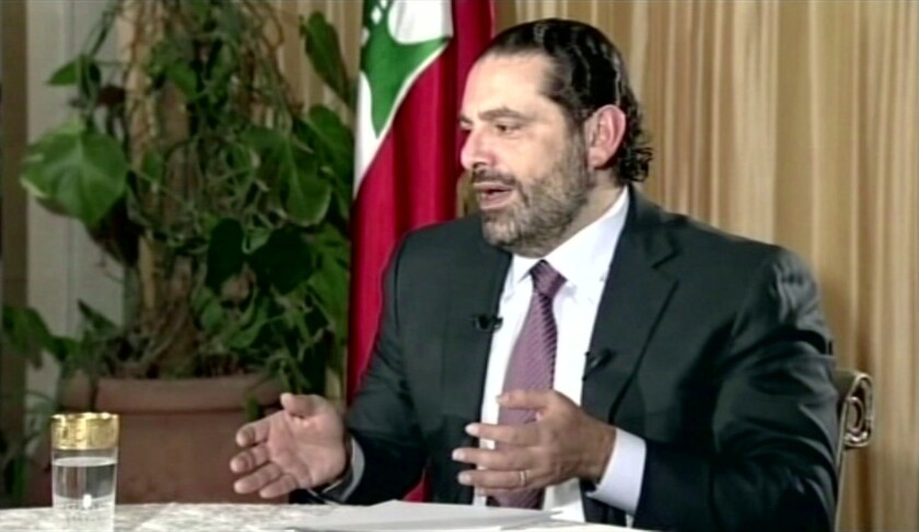 Lebanese Prime Minister Saad Hariri gives a live TV interview in Riyadh, Saudi Arabia, on Nov. 12, 2017.