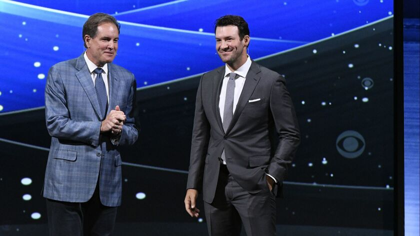 Jim Nantz and Tony Romo will call their first Super Bowl together when the Rams play the Patriots.
