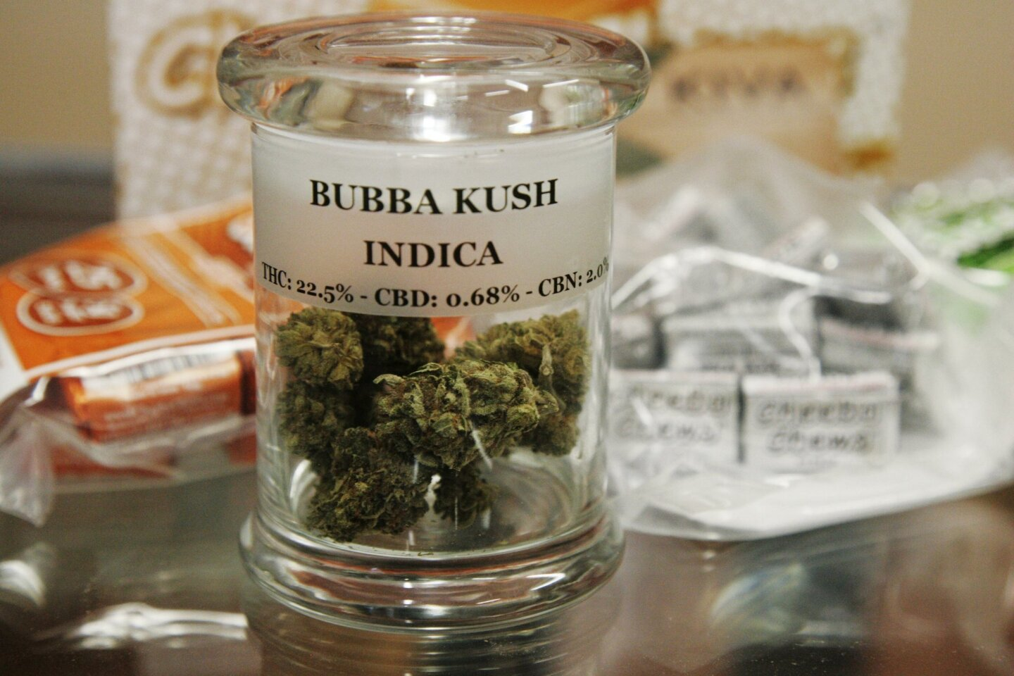 The first legal medical marijuana dispensary, A Green Alternative, is preparing to open in an Otay Mesa strip mall on Friday, March 20. These are some of the products that they will be selling when they open.
