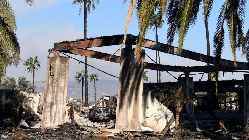 VENTURA, CA - DECEMBER 7, 2017: Vista Del Mar Hospital in Ventura is burnt from the Thomas fire. (Mi