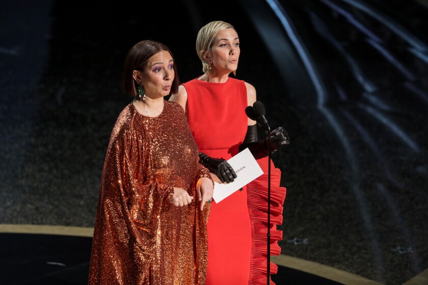 Maya Rudolph, left, and Kristen Wiig showed off their acting chops while presenting at the 92nd Academy Awards.