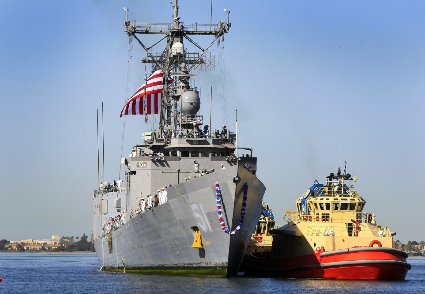 The USS Gary, the last operational frigate on the West Coast arrives at Naval Base San Diego, completing a seven-month deployment, its last before being decommissioned in August.