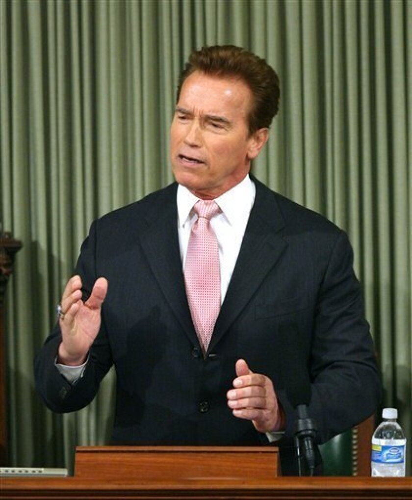 California Gov. Arnold Schwarzenegger delivers his State of the State address at the Capitol in Sacramento, Calif., on Thursday, Jan. 15, 2009.(AP Photo/Steve Yeater)