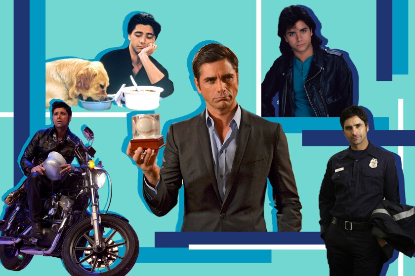 Blue, geometric photo collage of John Stamos in various roles throughout the years.