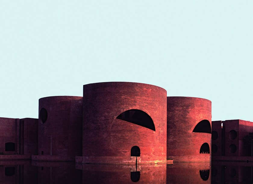"A photograph featured in Phaidon's book ""Brick"" of National Assembly Building, Dhaka, Bangladesh, 1982, Louis I. Kahn."