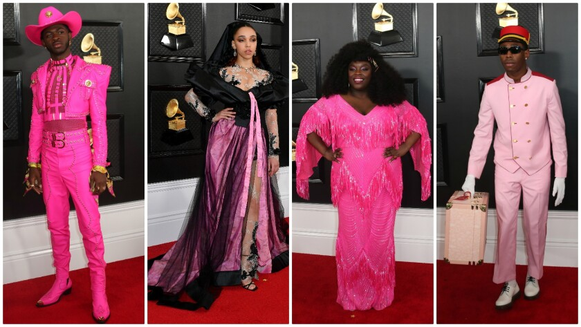Grammy Award attendees think pink