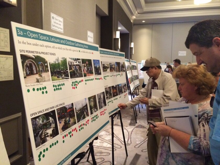 Residents participate in a One Paseo community workshop on July 13. Photo by Karen Billing.