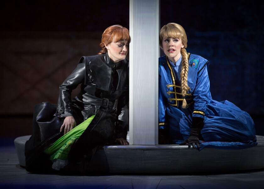 """Anna and Elsa come to life in """"Frozen Live"""" at California Adventure's Hyperion Theater."""