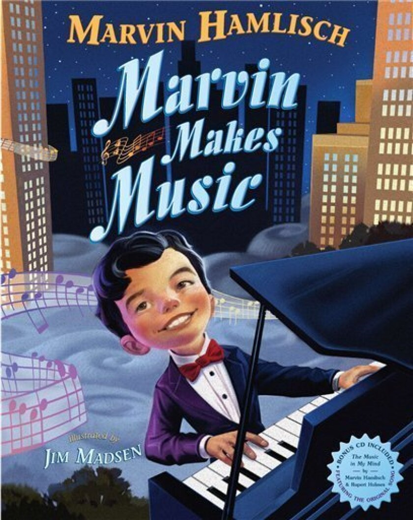 """This book cover image released by Dial Books for Young Readers shows """"Marvin Makes Music,"""" a children's book by Marvin Hamlisch and illustrated by Jim Madsen. Hamlisch told his story in an autobiography for adults and was excited to do the same with a children's picture book that now has a bittersweet release after his death at 68. The book, for the Penguin imprint Dial, goes on sale Nov. 8 and includes a one-song CD. It was the first picture book for the composer, who died Monday after a brief illness. (AP Photo/Dial Books for Young Readers)"""