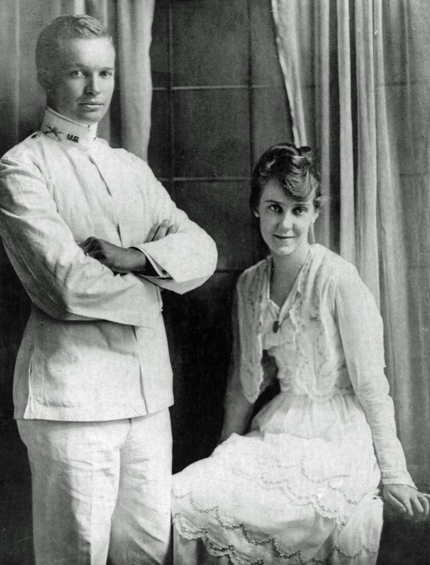 Former President Dwight D. Eisenhower is pictured with his bride, Mamie Geneva Doud, shortly after t