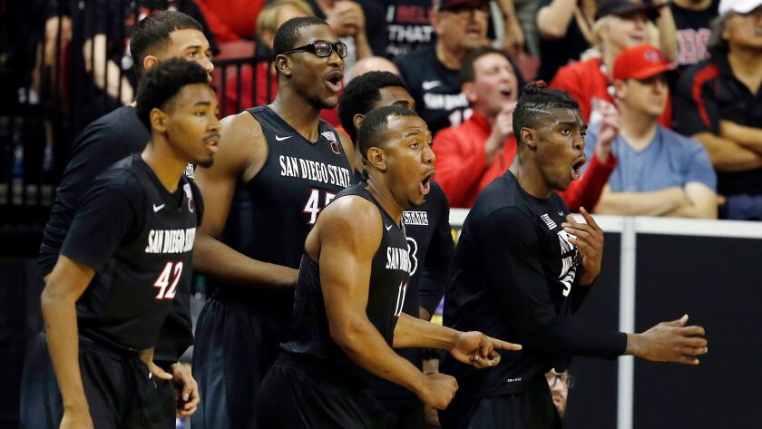 San Diego State's bench reacts to a missed shot during the second half of an NCAA college basketball