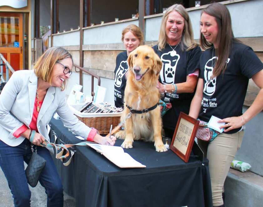 Molly Hintlian and her Golden Retriever, Rosie, arrive at the Paws & Pints event May 28, 2015 at La Jolla Brewing Co.