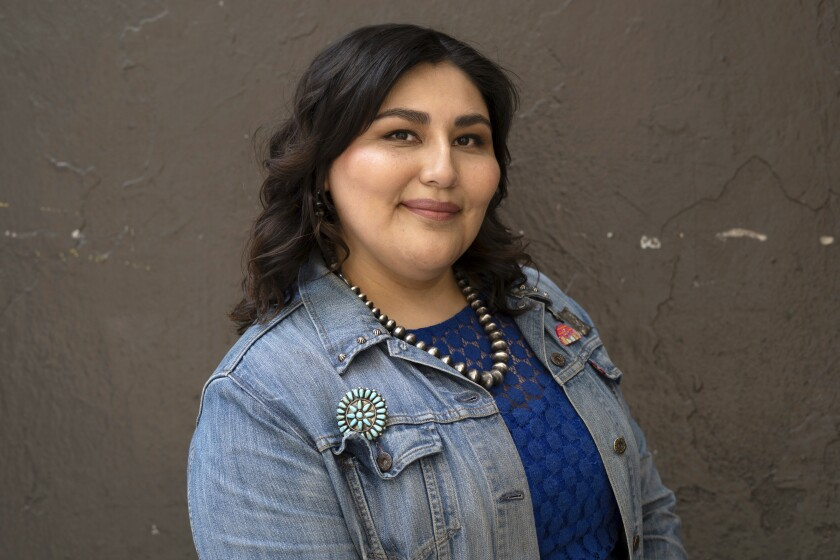 """This image shows Sierra Teller Ornelas, writer and producer of """"Rutherford Falls,"""" a new series on the Peacock streaming service. (Reginald Cunningham via AP)"""