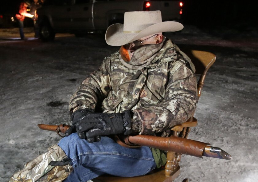 Rancher and activist LaVoy Finicum pulls guard duty at the Malheur National Wildlife Refuge near Burns, Ore.