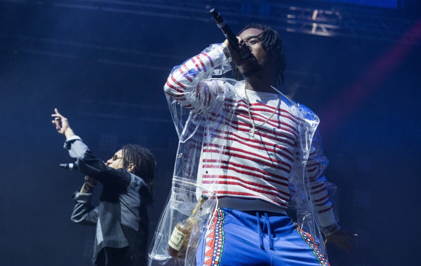 Rae Sremmurd's Swae Lee, left, and brother Slim Jxmmi perform at the Coachella Valley Music and Arts Festival on April 15.