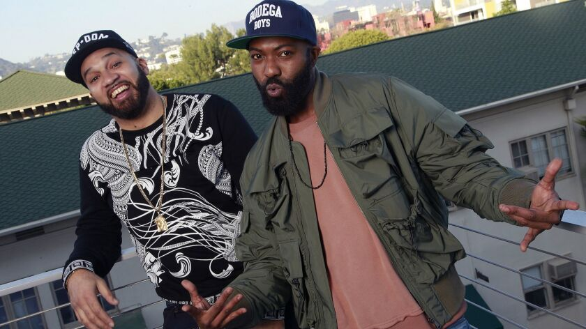 WEST HOLLYWOOD, CA., FEBUARY 1, 2019 --TV and podcast personalities (right) Desus Nice and Kid Mero,