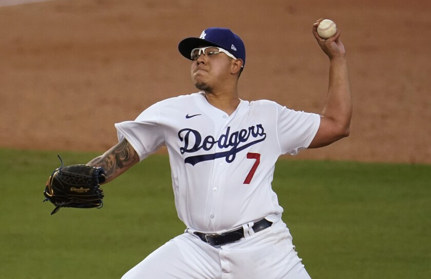 Dodgers starter Julio Urias delivers against the Diamondbacks.
