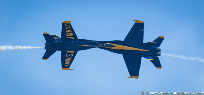 Precision flying by the U.S. Navy Blue Angels