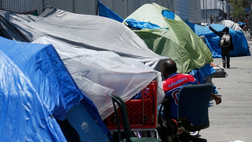 Tents line the sidewalks along 5th Street in L.A.'s skid row.