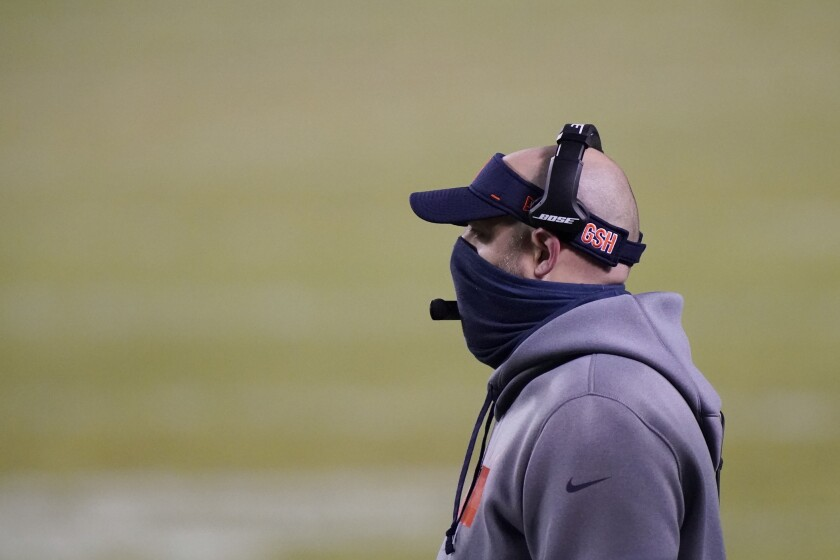 Chicago Bears head coach Matt Nagy watches during the second half of an NFL football game against the Green Bay Packers Sunday, Jan. 3, 2021, in Chicago. (AP Photo/Nam Y. Huh)