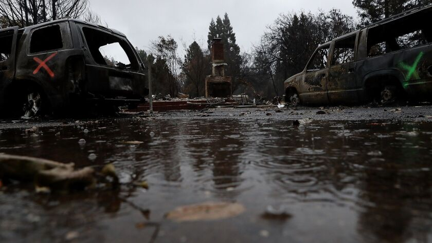 Rain falls last week on a home destroyed by the Camp fire in Paradise, Calif.