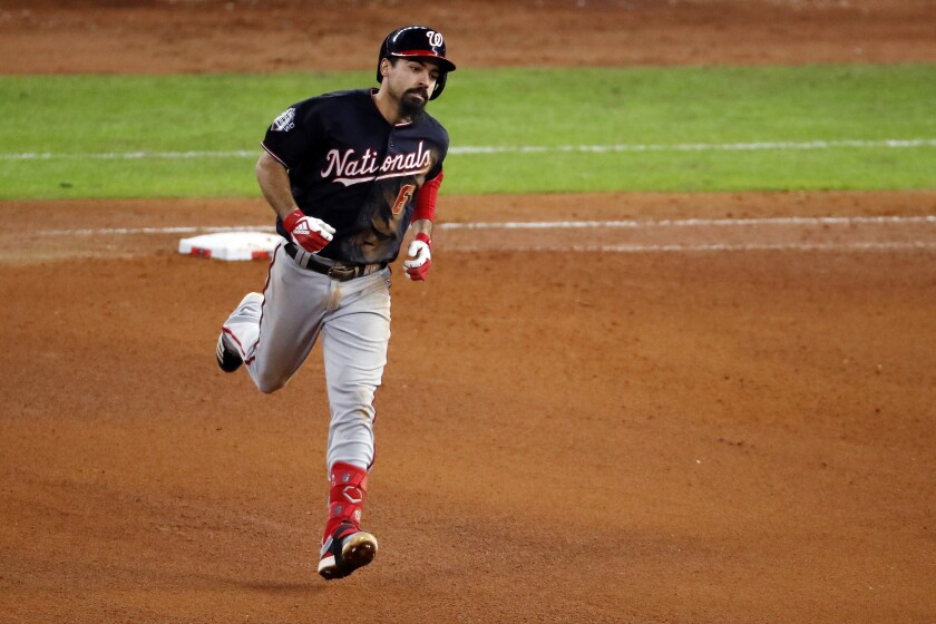 The Nationals' Anthony Rendon rounds the bases after homering in Game 7 of the World Series on Oct. 30, 2019.