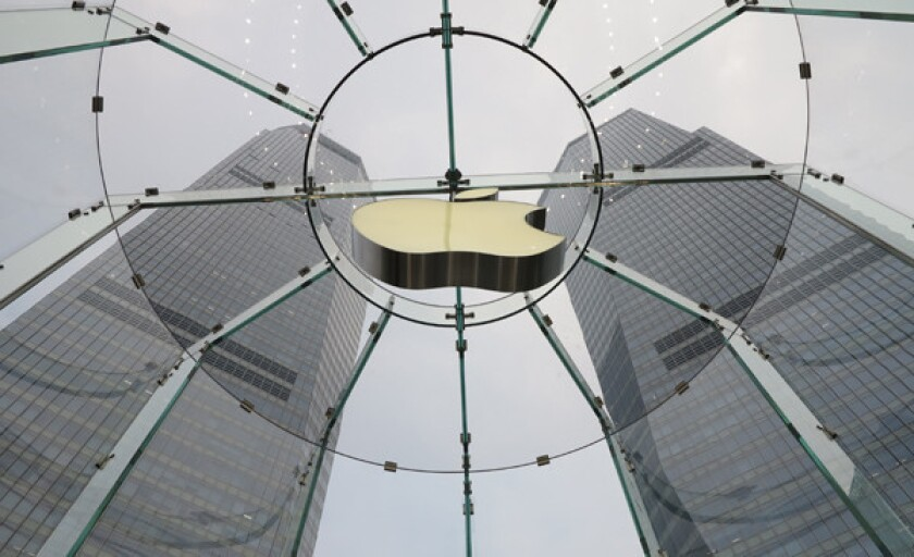 A view from Apple's retail store in Shanghai, China, one of its largest storefronts.