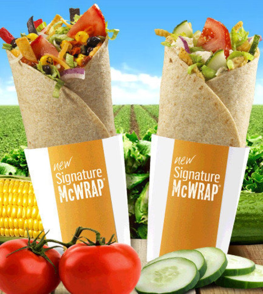 The new vegetarian McWraps at McDonald's locations in Canada. The two flavors include Mediterranean and Santa Fe.