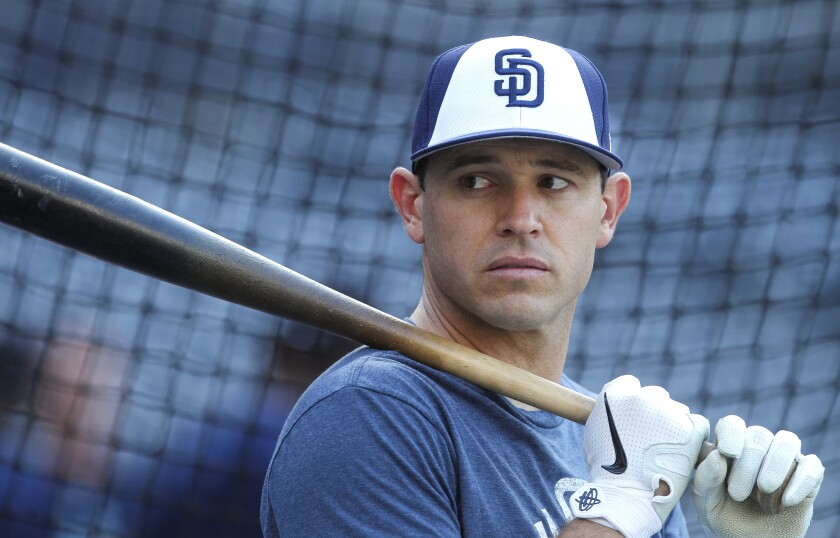 Ian Kinsler during batting practice before the Padres' game against the Mariners on Tuesday at Petco Park.