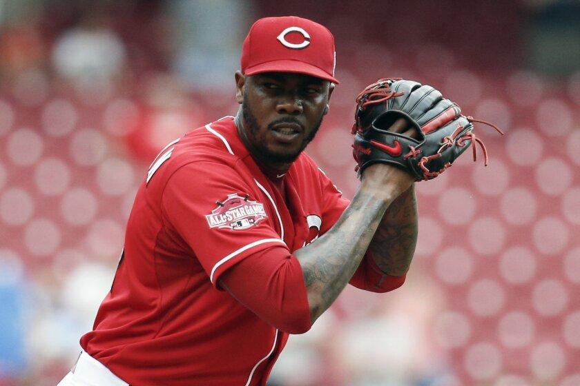 Aroldis Chapman pitches for Cincinnati on Sept. 7.