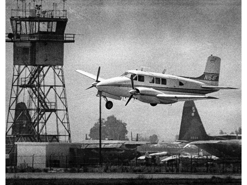 July 6, 1976: A twin engine aircraft makes an emergency wheels-up landing Van Nuys Airport.