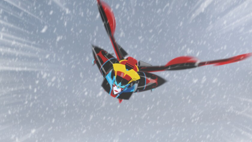 """Windblade is battling the elements in """"Transformers: Robots in Disguise."""""""