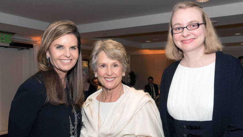 Maria Shriver, far left, at a UCI MIND gala in January. She's pictured with donor and Alzheimer's research participant Ann Quilter of Laguna Beach, center, and Aimee Pierce, the medical director of UCI MIND.