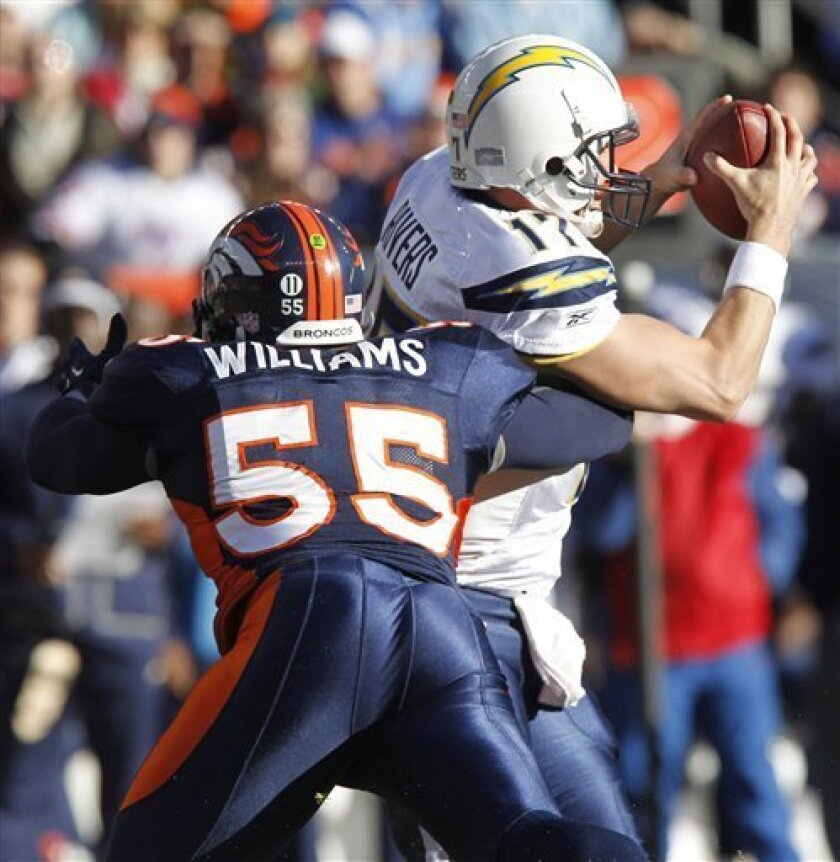 San Diego Chargers quarterback Philip Rivers (17) is sacked by Denver Broncos linebacker D.J. Williams (55) during the first quarter of an NFL football game on Sunday, Jan. 2, 2011, in Denver. (AP Photo/ Ed Andrieski)